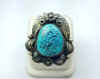 Vintage Native American Navajo handmade Sterling Silver Turquoise ring