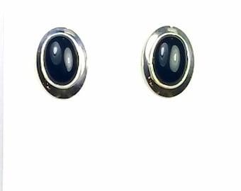 Native American Navajo handmade Sterling Silver Black Onyx post earrings