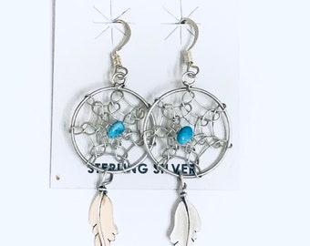 Native American Navajo Handmade Sterling Silver Turquoise dream Catcher Dangle Earrings