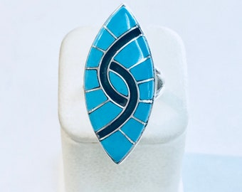 Native American Zuni handmade sterling silver turquoise inlay ring by artist Amy Quandelacy