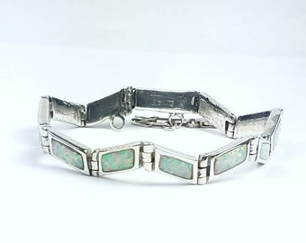 Native American Navajo handmade Sterling Silver Opal inlay link bracelet