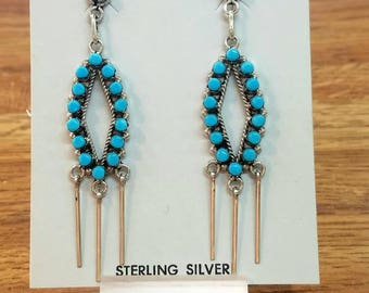 Native American Zuni Handmade Sterling Silver Petit Point Sleeping Beauty Turquoise Earrings