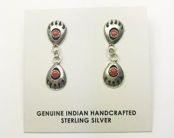 Native American Navajo Handmade Sterling Silver Coral Bearpaw Earrings