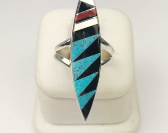 Native American Navajo Handmade Sterling Silver Turquoise, MOP, Coral Onyx Inlay Ring