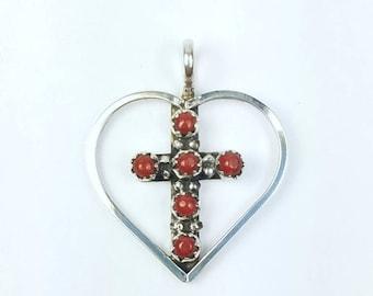 Native American Zuni handmade Sterling Silver Coral petit point cross pendant