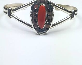 Native American Navajo handmade Sterling Silver Mediterranean Coral cuff bracelet