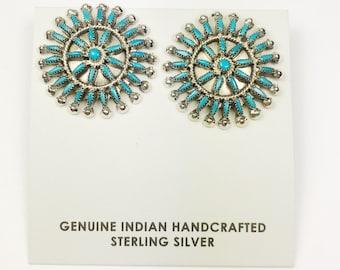 Native American Zuni Needle point Handmade Sterling Silver Sleeping Beauty Earrings