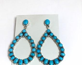 Stunning Native American Navajo Handmade Sterling Silver Sleeping Beauty Turquoise Dangle Earrings