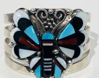 Native American Zuni handmade sterling silver turquoise onyx, Mediterranean coral and mother of pearl butterfly cuff bracelet