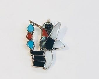Native American Zuni handmade sterling silver multicolored inlay hummingbird pendant