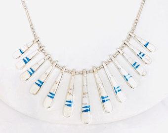 Native American Navajo handmade White Buffalo turquoise finger necklace set