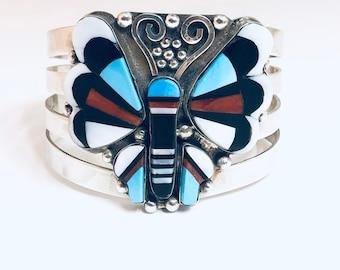 Native American Handmade Zuni Inlay Multi-Stone Sterling Silver Cuff Bracelet