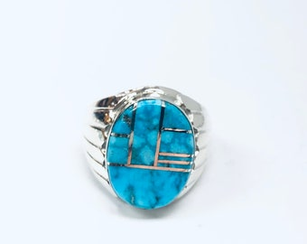 Native American Navajo handmade sterling silver turquoise men's or women's ring