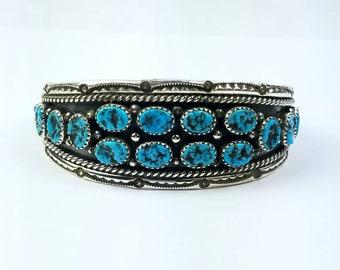 Native American Navajo handmade Sterling Silver Kingman Turquoise bracelet