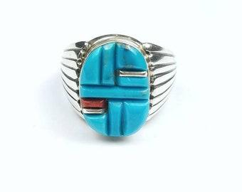 Native American Navajo handmade Sterling Silver cobblestone Turquoise Mediterranean Coral stone ring