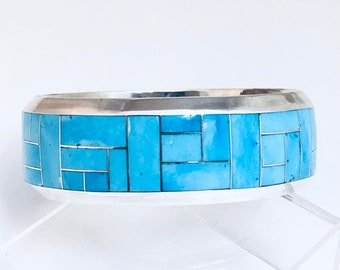 Native American Navajo Inlay Sterling Silver and Turquoise Bangle Bracelet