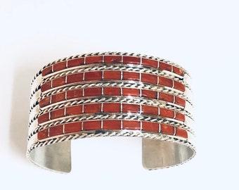 Native American Handmade Zuni Inlay Sterling Silver Coral Cuff Bracelet