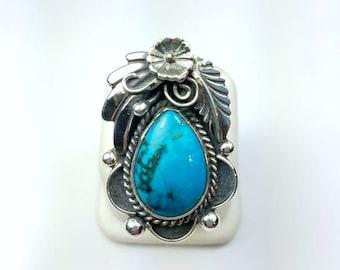 Native American Navajo handmade heavy gauge Sterling Silver Turquoise ring