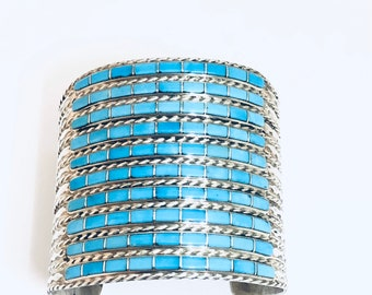 Native American Zuni Inlay Handmade Sterling Silver and Sleeping Beauty Turquoise Cuff Bracelet