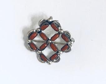 Native American Zuni Handmade Sterling Silver Coral Needlepoint Pendant Pin