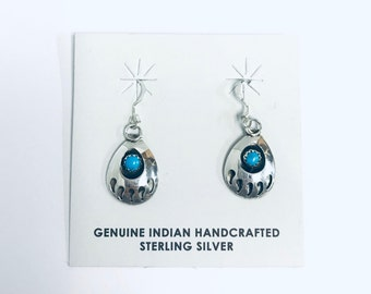Native American Navajo handmade sterling silver dangle Bear claw design dangle earrings set with Sleeping Beauty Turquoise stones