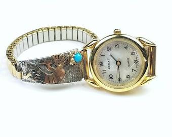 Native American Navajo handmade Sterling Silver 12k Gold fill Turquoise stone Kokopelli watch