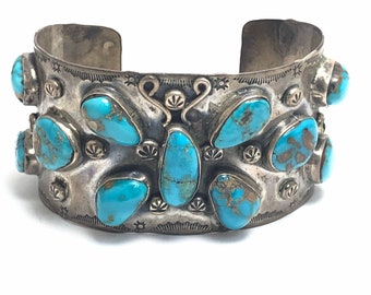 1970's Estate Jewelry Native American Handmade Navajo Sterling Silver Turquoise Cuff Bracelet