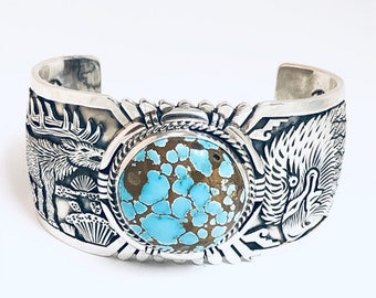 Exquisite Craftsmanship  Native American Navajo Handmade  Sterling Silver and Turquoise Cuff Bracelet