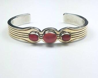 Native American Navajo handmade heavy gauge Sterling Silver thin sheet 14k Gold overlay Coral cuff bracelet