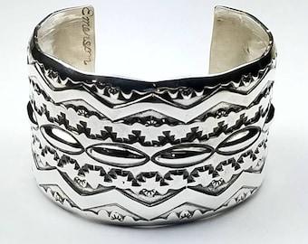Native American Navajo handmade Sterling Silver cuff bracelet by Emerson Bill