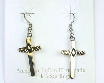 Native American Navajo handmade Sterling Silver 14k Gold overlay cross dangle drop earrings