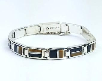 Native American Navajo handmade Sterling Silver multi-stone inlay link bracelet