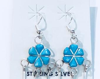 Native American Zuni handmade sterling silver turquoise flower dangle drop earring