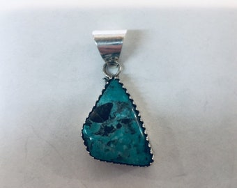 Native American Navajo handmade Sterling Silver with Stormy Mountain Turquoise pendant