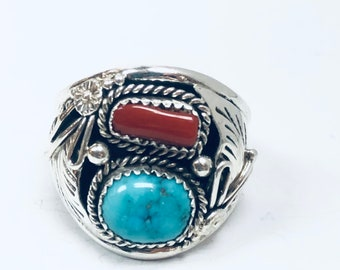 Native American Navajo handmade sterling silver turquoise men's/women's ring