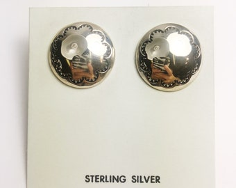 Native American Navajo Handmade Sterling Silver Dome Button Earrings