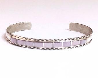 Native American Handmade Zuni Inlay Sterling Silver and Abalone Shell Cuff Bracelet
