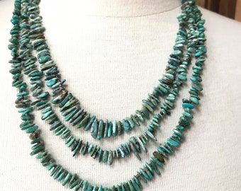 Native American Navajo Hand Cut 3 Strand graduated Turquoise Necklace