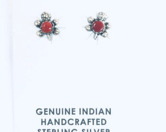 Native American Navajo hand made sterling silver baby turtle stud earrings set with red Coral