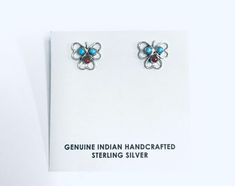 Native American Zuni handmade sterling silver studs earrings set with Sleeping Beauty Turquoise and Coral
