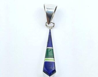 Native American Navajo handmade Sterling Silver multi-stone inlay pendant