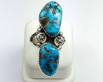 Native American Navajo handmade Sterling Silver Turquoise stone ring