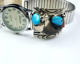 Native American Navajo handmade Sterling Silver Kingman Turquoise Coral stone watch