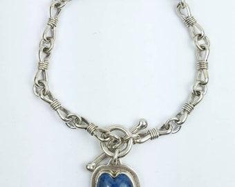 Native American Navajo handmade Sterling Silver Denim Lapis link bracelet