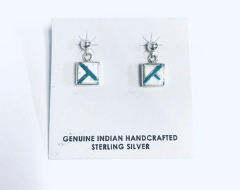 Native American Navajo handmade sterling silver dangle earrings inlaid with Turqquoise and white Buffalo stone