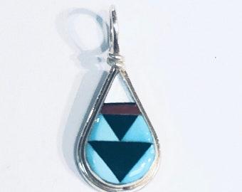 Native American Zuni handmade sterling silver multi colored inlay pendant