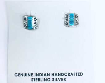 Native American Zuni inlay sterling silver stud earrings inlaid with sleeping beauty turquoise