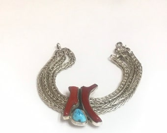 Native American Handmade Sterling Silver Sleeping Beauty Turquoise Branch Coral Chain Link Bracelet
