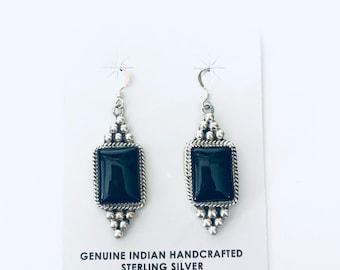 Native American Navajo handmade sterling silver and black onyx dangle earrings
