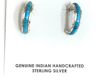 Native American ZuniHandmade Sterling Silver Turquoise Inlay Hoop Earrings